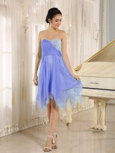 Lilac Sweetheart Asymmetrical Chiffon Short Prom Pageant Dress with Beading