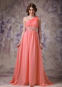 Wonderful Watermelon One Shoulder Pageant Dress in Chiffon with Beading
