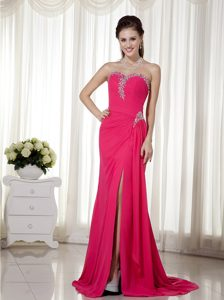 Coral Red Column High Slit Brush Train Pageant Dress in Chiffon with Beading