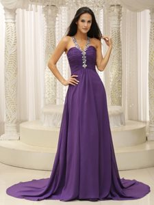 2013 Beaded V-neck Simple Pageant Dress in Chiffon with Ruching Best Seller