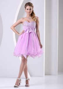 Baby Pink Sweetheart Beaded Short Pageant Dress in Organza with Bowknot