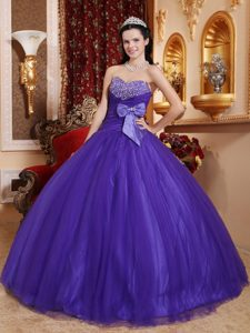Purple Sweetheart Beaded Pageant Dresses with Bowknot in Tulle and Taffeta