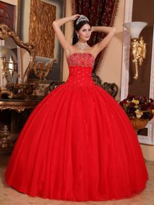 2013 Brand New Red Strapless Simple Dress for Pageant in Tulle with Beading