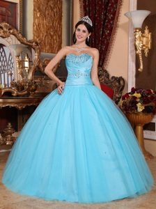 Aqua Blue Ball Gown Sweetheart Girl Pageant Dress with Beadings on Promotion