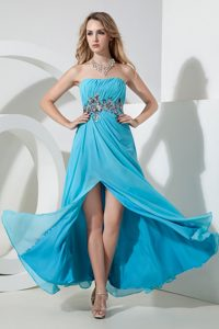 Classy Ruching Youth Pageant Dresses in Aqua Blue with Appliques and High Slit