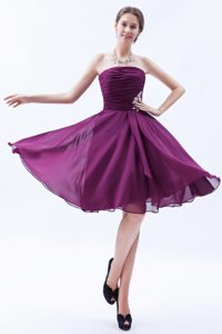 Fuchsia Knee-length Ruching Pageant Dress for Miss USA with White Appliques