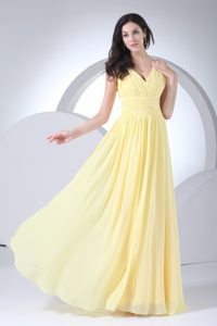 Empire V-neck Floor-length Chiffon Beauty Pageant Dress in Yellow with Ruches