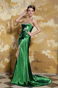 Beading Taffeta Miss Universe Pageant Dress in Green with High Slit and Leopard
