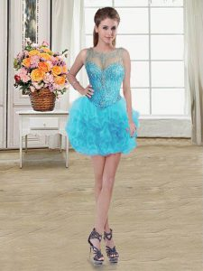 Elegant Scoop Sleeveless Pageant Dress for Teens Mini Length Beading and Ruffles Baby Blue Tulle