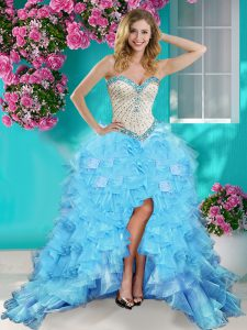 Baby Blue Ball Gowns Organza Sweetheart Sleeveless Beading and Ruffles High Low Lace Up Pageant Dress Wholesale