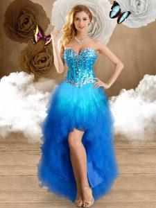 Glittering Multi-color Ball Gowns Beading and Ruffles Pageant Dress for Womens Lace Up Tulle Sleeveless High Low