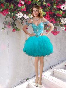 Teal Off The Shoulder Neckline Beading and Ruffles Glitz Pageant Dress Sleeveless Lace Up