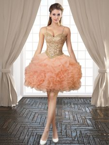 Peach Spaghetti Straps Backless Beading and Ruffles and Pick Ups Winning Pageant Gowns Sleeveless
