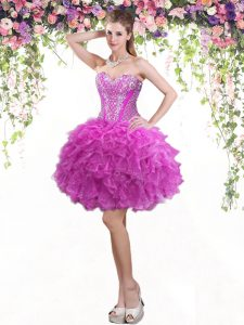 Modest Fuchsia Tulle Lace Up Pageant Dress for Teens Sleeveless Mini Length Beading and Ruffles
