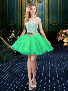 Scoop Sleeveless Mini Length Beading and Lace and Appliques Lace Up Pageant Dress with