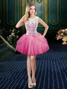 Exceptional Scoop Clasp Handle Tulle Sleeveless Mini Length Pageant Dress Toddler and Lace