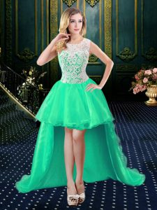Dynamic Lace High Low Turquoise Glitz Pageant Dress Scoop Sleeveless Zipper