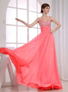 Attractive Ruched and Beaded Long Pageant Dress Patterns in Watermelon