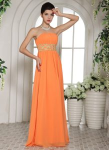 Elegant Ruched and Beaded Zipper-up Prom Pageant Dresses in Orange Red