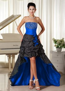 Charming High-low Zipper-up Natural Beauty Pageants Dress with Beading