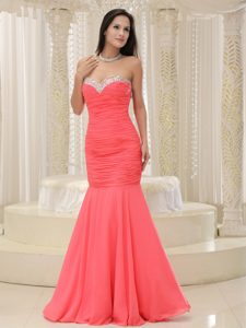 Sweet Mermaid Sweetheart Ruched Long Youth Pageant Dresses in Coral Red