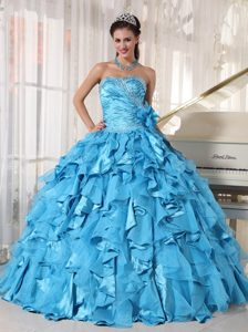 Charming Sweetheart Ruched and Beaded Long Pageant Girl Dresses in Teal