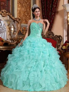 Apple Green Sweetheart Ruffled Long Luxurious Dresses for Pageants in NJ