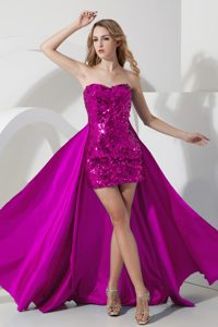 Fuchsia Zipper-up Sequined 2014 Classical Pageant Dresses for Miss USA