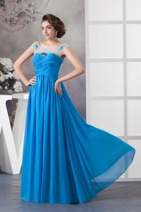 Popular Beaded and Ruched Off-the-shoulder Blue Chiffon Pageant Dress