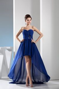 Royal Blue Sweetheart Prom Pageant Dresses with Ruching and Beading