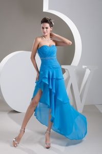 Low Price Sweetheart Blue Chiffon Pageant Dress with Beading and Ruching