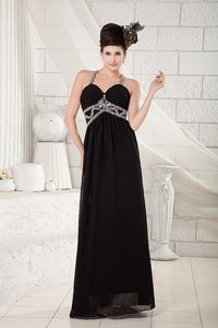 Lovely Black Empire Straps Chiffon Prom Pageant Dresses in Floor-length