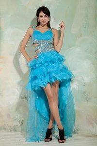 Sky Blue A-line High Low Dresses for Pageants with Beading on Promotion