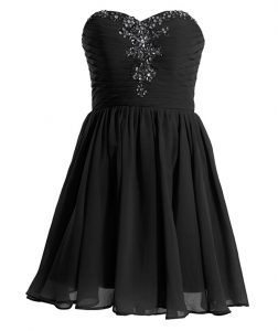 Fine Black Lace Up Sweetheart Beading Pageant Dress for Womens Chiffon Sleeveless