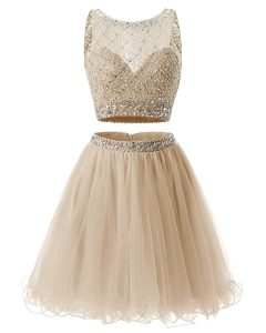 Stunning Sleeveless Mini Length Beading and Belt Side Zipper Glitz Pageant Dress with Champagne