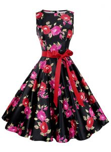 Eye-catching Scoop Multi-color Sleeveless Knee Length Sashes ribbons and Pattern Zipper Pageant Dress for Teens