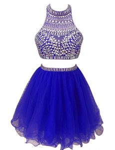 Latest Royal Blue Custom Made Pageant Dress Prom and Party with Beading High-neck Sleeveless Zipper