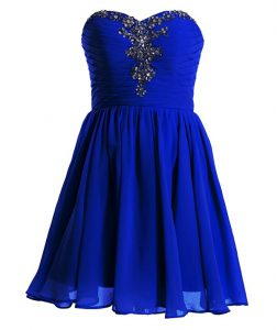 Royal Blue Sleeveless Mini Length Beading Lace Up Custom Made Pageant Dress