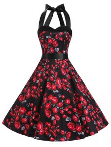 Latest Halter Top Red And Black Chiffon Zipper Pageant Dresses Sleeveless Knee Length Sashes ribbons and Pattern