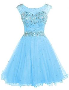 Wonderful Sleeveless Tulle Knee Length Zipper Evening Gowns in Baby Blue with Beading
