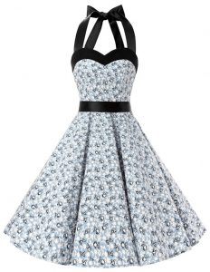 Elegant Halter Top Sleeveless Knee Length Sashes ribbons and Pattern Zipper Pageant Dress for Teens with White And Black
