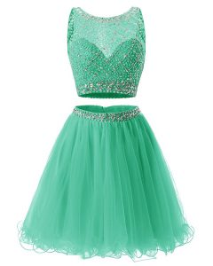 Ideal Green Sleeveless Beading and Belt Mini Length Winning Pageant Gowns