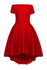 Short Sleeves Satin Tea Length Side Zipper Pageant Dress Womens in Wine Red with Ruching