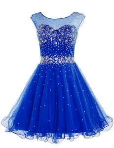 Fancy Royal Blue A-line Bateau Sleeveless Chiffon Knee Length Zipper Beading Evening Gowns