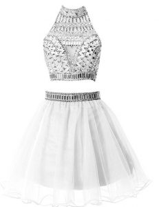 Suitable A-line Pageant Dress Womens Silver High-neck Chiffon Sleeveless Mini Length Zipper