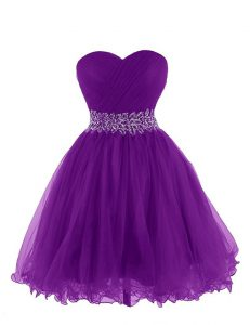 Super Purple Empire Belt Pageant Dress for Womens Lace Up Organza Sleeveless Mini Length