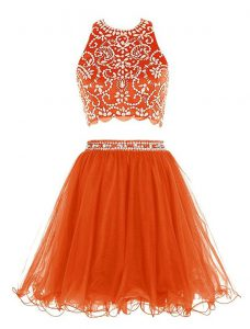 Affordable Orange Scoop Neckline Beading Evening Gowns Sleeveless Backless