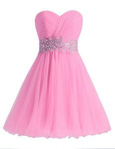 Rose Pink Chiffon Lace Up Sweetheart Sleeveless Knee Length Winning Pageant Gowns Beading and Ruching