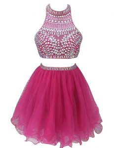 Fuchsia Sleeveless Mini Length Beading Zipper Pageant Dress