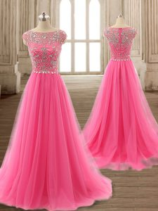 Rose Pink Scoop Zipper Beading Pageant Dress Toddler Brush Train Cap Sleeves